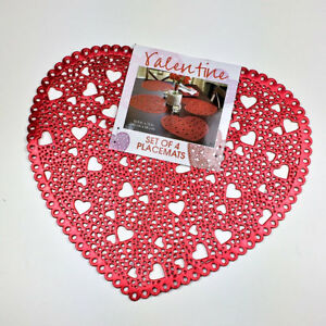 Valentine S Day Red Love Heart Shaped Vinyl Placemats Set Of 4 Ebay