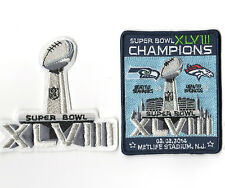 SUPER BOWL XLVIII SUPERBOWL SB 48 CHAMPION Seahawks rout Broncos 2-PATCH SET c