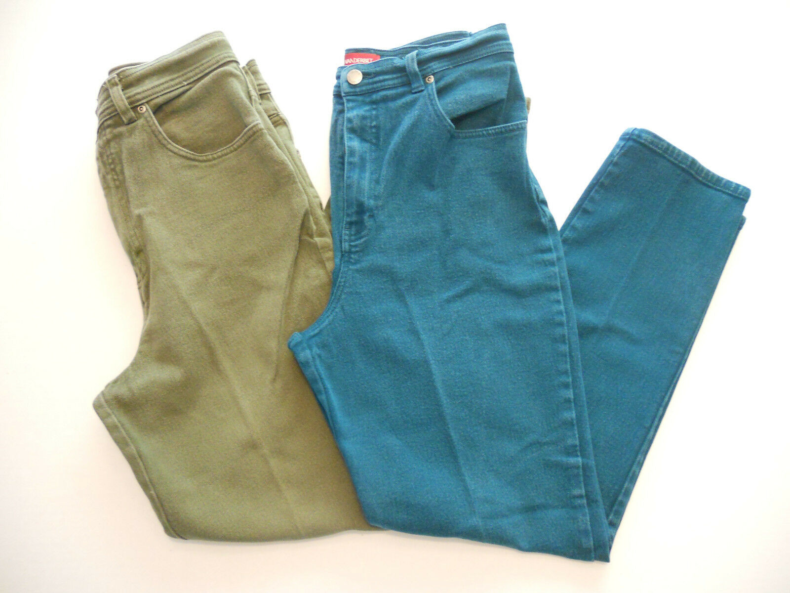 Womens Authentic Gloria Vanderbilt Green Teal Stretchy Jeans Size 14 Pre Owned