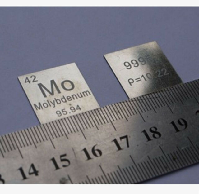 99.95% Molybdenum Mo Metal Carved Element Periodic Table Sheet 0.5*20*20mm #BA0