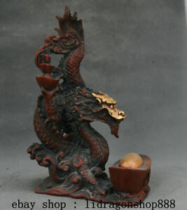 "9,6"" Chine Rouge Bronze Doré Feng Shui Zodiac Animal Dragon Bead Chanceux Statue"