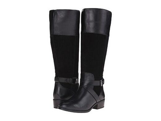 New LAUREN Ralph Lauren Maryann Wide Calf Black Leather Boot Sz 6.5