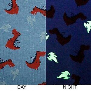 "59/"" wide John Lauden Quality glow in the dark jersey dino dinosaur dragon blue"