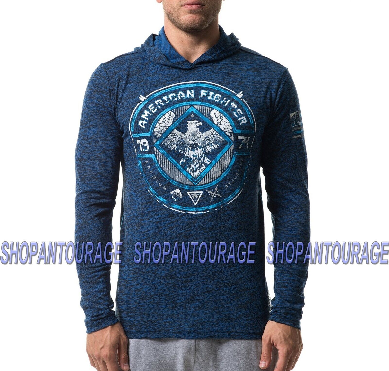 American Fighter Mccarthy FM8031 Men`s Sport L S T-shirt with Hood By Affliction