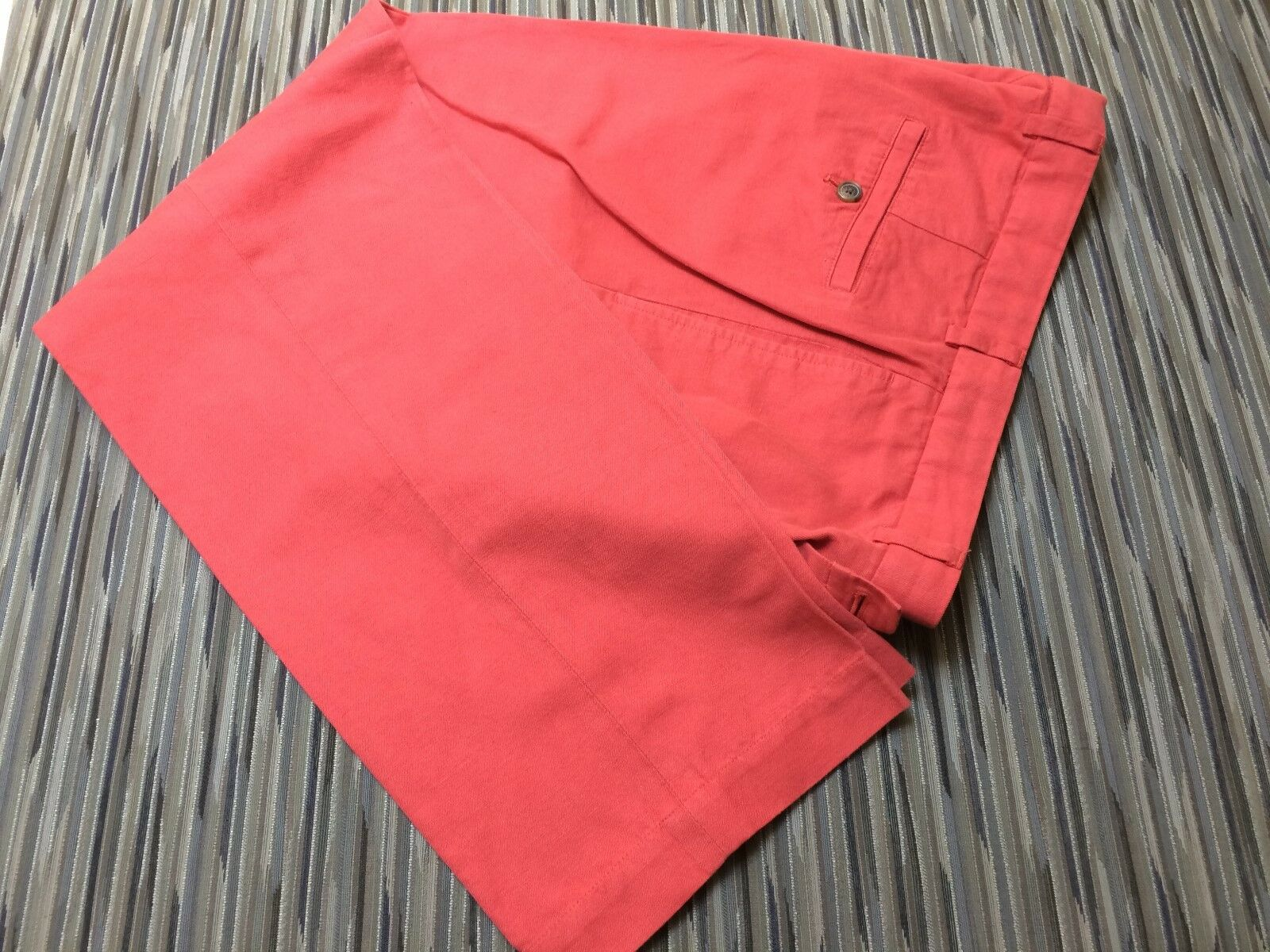 Brooks Bredhers 33 30 Linen Cotton Belnde Red Flat Front Pants