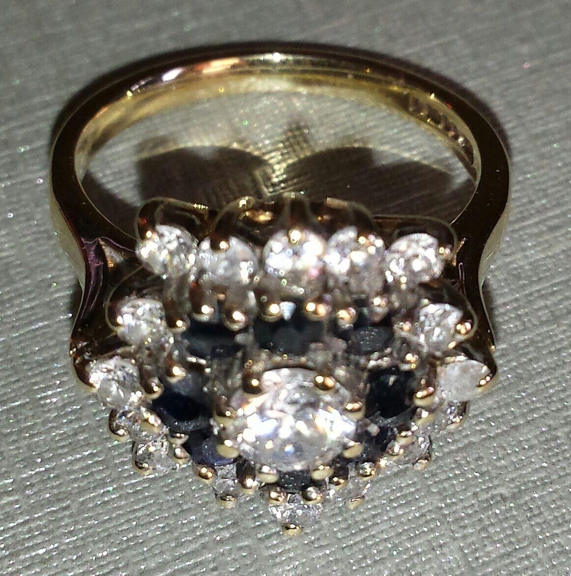 9kt YG Cubic Zirconia & bluee Sapphire Ring.