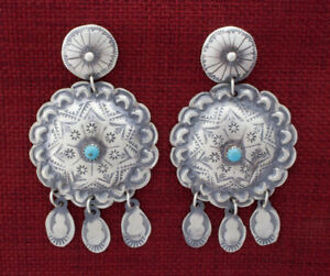 Beautiful Tim Yazzie Concho Dangle Earrings