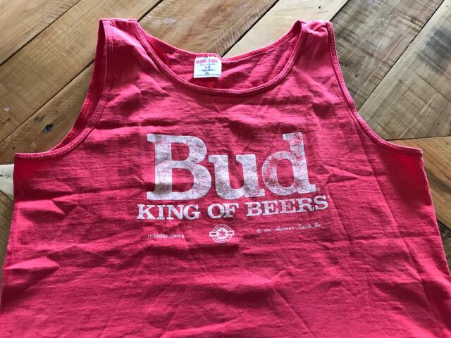 Vintage Red Budweiser Beer Tank Top Shirt SZ XL 1990 Bud King Of Beers Sof Tee