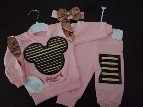 NEU Baby Mädchen Set 3-Teile Pulli //Shirt /& Hose /& Stirnband  Gr. 62