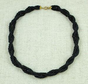 charme de coût en soldes meilleures chaussures Détails sur Ancien collier en petites perles noires tressées Style art-déco  Bijou fantaisie