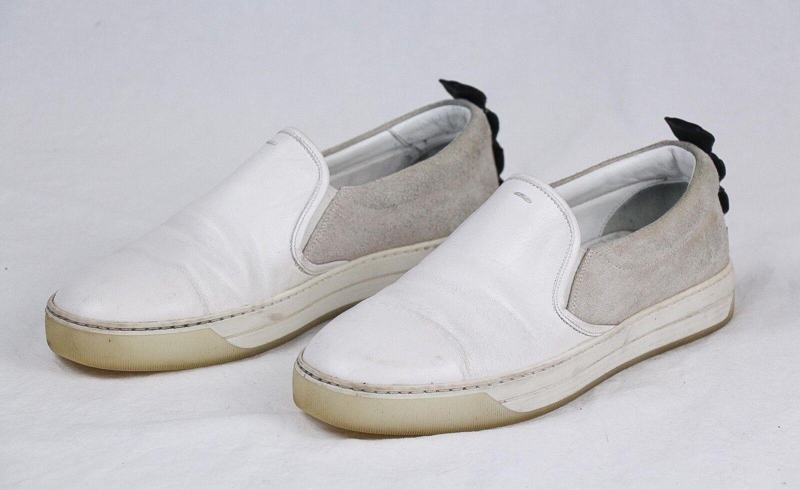 Fendi, zapatos de deporte de piel gris y blancoa, talla 7.650  .