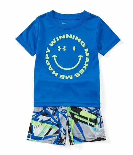 Under Armour Boys Smiley Face Tee /& Geometric-Printed Shorts Set 18 Months Blue