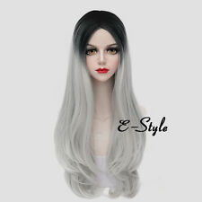 Long Wavy 70CM Black Mixed Silver White Hair Lolita Women Girl Party Cosplay Wig