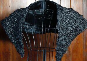 new product b8e27 bf37c Dettagli su Collo Nero Pelliccia Astrakan anni 50 Vintage Black Fur Collar