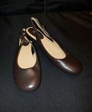 NWOB a.n.a * 8 Med* Brown Dark Lea  Round Toed, low-heel, Slingbacks