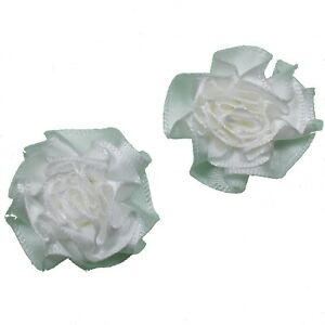 2-x-WHITE-Satin-Ribbon-Ruffle-Roses-Rosettes-4cm-Card-Making-DIY-Craft-Sewing