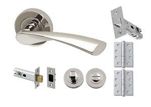 Modern Polished Chrome Rose Lever Internal Complete Door Handle Sets ...
