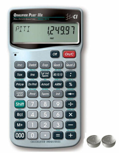 Calculated Qualifier Plus IIIx Financial Calculator 3415 w//Spare LR44 Batteries