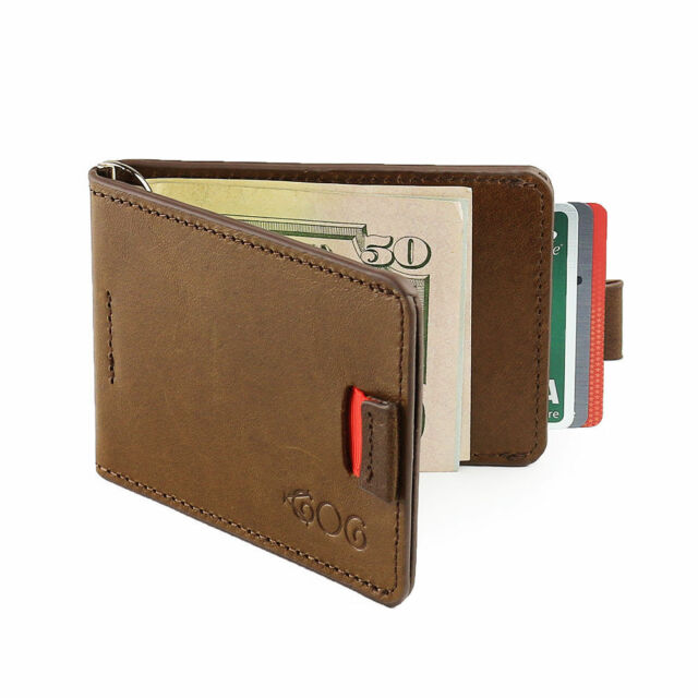 Agog Magnet Money Clip Wallet For Men - Ultra Slim Genuine Leather with Pull Tab