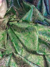 """1 M di Paisley Verde Smeraldo Metallizzato Broccato Tessuto Jacquard... 58"""" Wide"""