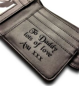 4d3d193db55e Men s Personalised Black Leather Wallet Dad Daddy Grandad Son ...