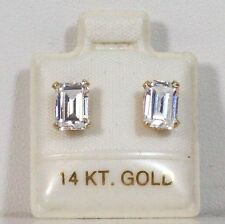 I4K Gold With CZ Bagget Shape Earrings 5 x 7mm. J0027