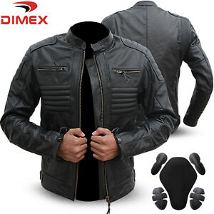 Genuine-Leather-Motorbike-Motorcycle-Jacket-Black-Biker-With-CE-Armour-Black