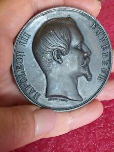 Napoleon-III-Paris-1855-Albert-Barre-French-Splendid-Art-Nouveau-medal-110g-60mm
