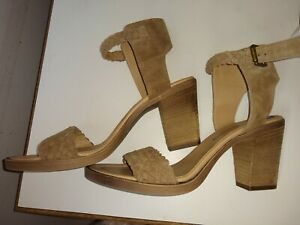 BARBARA-BARBIERI-Women-s-Taupe-Leather-suede-Wedge-Sandals-Size-8-5