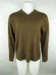 Banana Republic Men's sz L Brown Extra Fine Merino Wool Heathered V-Neck Sweater