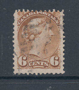 Canada-Sc-39-used-1872-6c-yellow-brown-Small-Queen-perf-12