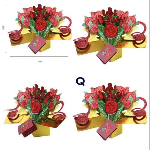 Rose Bouquet Happy Birthday Anniversary Mother/'s Day 3D Pop Up Greeting Card