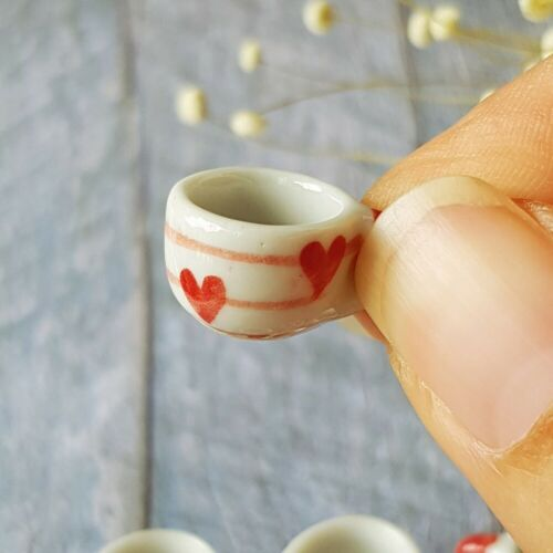 Dollhouse Miniatures Ceramic Coffee Tea Cup Set Supply Red Heart Supply Lot x10