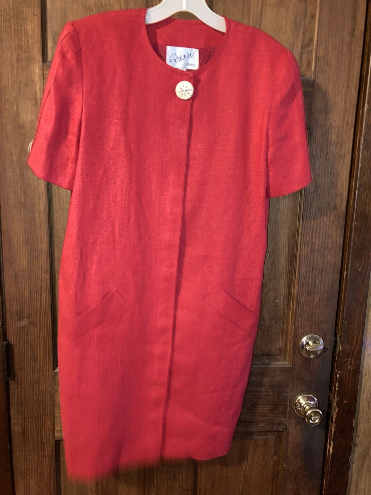 Vintage Arnold Scaasi size 8 Red Classy Linen  Dr… - image 1