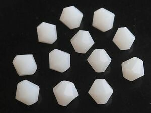 50pcs-8mm-Bicone-Faceted-Crystal-Glass-Charms-Loose-Spacer-Beads-Porcelain-White