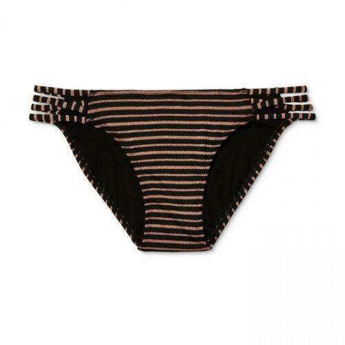 NWT Xhilaration Women/'s Metallic Stripe Strappy Hipster Bikini Bottom