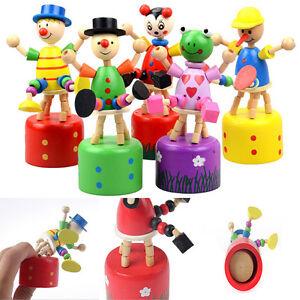 1 Pcs Wooden Clown Puppet Finger Toy Lovely Educational Kids Toy Clown Barrel TB