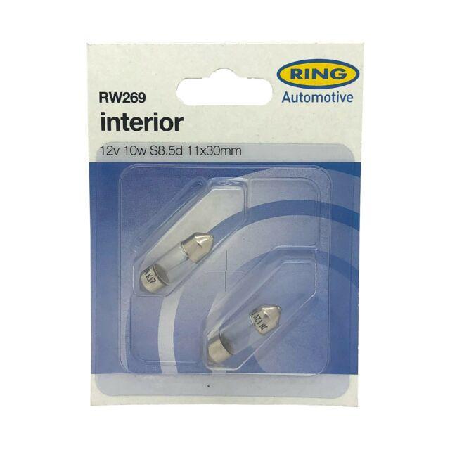 RW269 2x Ring S8.5d 11x30mm Festoon 10w 12v Light Bulbs