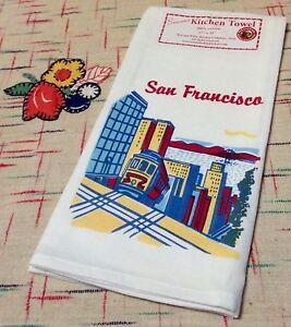 Retro-Vintage-Style-Cotton-50-039-s-Kitchen-Towels-with-San-Francisco-Cable-Car