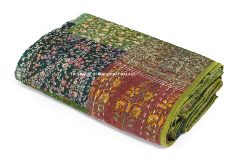 Indian Saree Patchwork Kantha Quilt Handmade Bedspread Silk Reversible Bedding