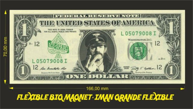 MOTORHEAD ACE OF SPADES IMAN BILLETE 1 DOLLAR BILL MAGNET