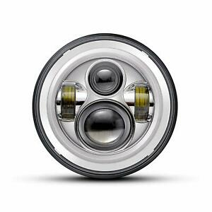 QUAKEWORLD-7-034-Chrome-60W-LED-Headlight-Motorcycle-Projector-LED-Headlamp