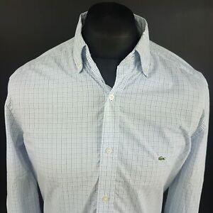 Lacoste-Mens-Vintage-Shirt-40-MEDIUM-Long-Sleeve-Blue-Regular-Fit-Check-Cotton
