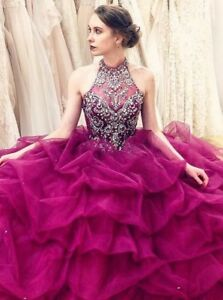 6173595c6a Image is loading Sparkly-Crystals-Beaded-Quinceanera-Dresses-Sweet-15-Halter -