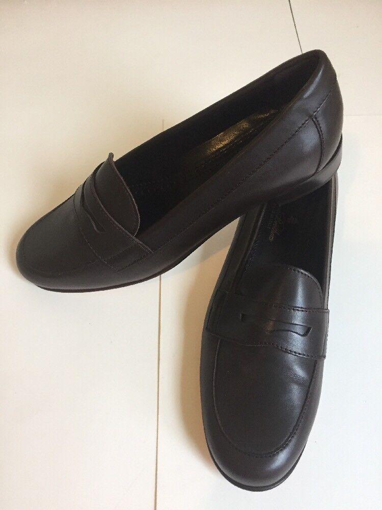 Brooks Brojohers clásicos clásicos clásicos Mocasines Cuero Marrón Slip on Penny para Mujer Talla 7AA  248  nuevo estilo