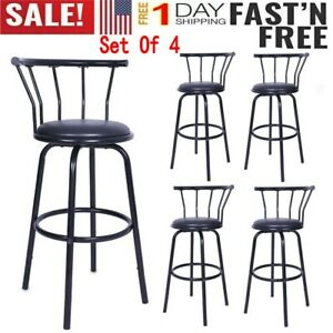 Surprising Details About Set Of 4 Counter Height Pu Leather Bar Stools High Back Swivel Pub Chairs Black Gamerscity Chair Design For Home Gamerscityorg