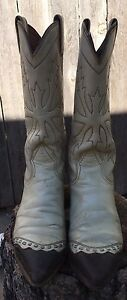 Leather Nocona 5 Cowboy Western Creambrown Details Vintage Tips Ropers Boots Womens Zu 5 B RjL5q34A