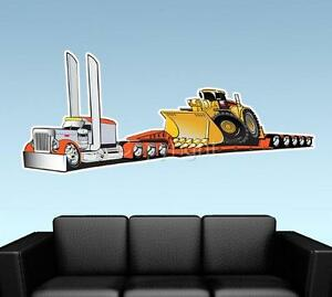 Lowboy Drop Trailer Semi Truck WALL DECAL MURAL PRINT ...
