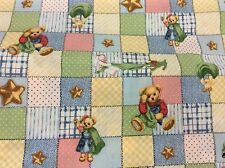 "DAISY KINGDOM # 2476 BLUE JEAN TEDDY ""BLANKIE BEAR PATCHES ALLOVER"" FABRIC  BTY"