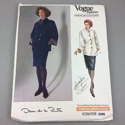 Vtg 1980s Vogue Oscar de la Renta Pattern 2396  Top Skirt Scarf Uncut Sz 8 10 12